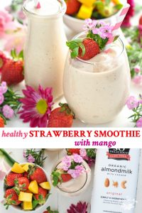 Long collage of Healthy Strawberry Smoothie with Mango