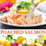 Long collage image of Poached Salmon