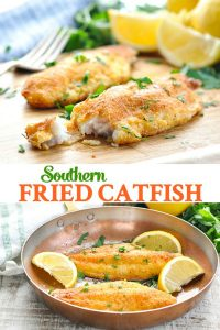 Long collage of Southern Fried Catfish