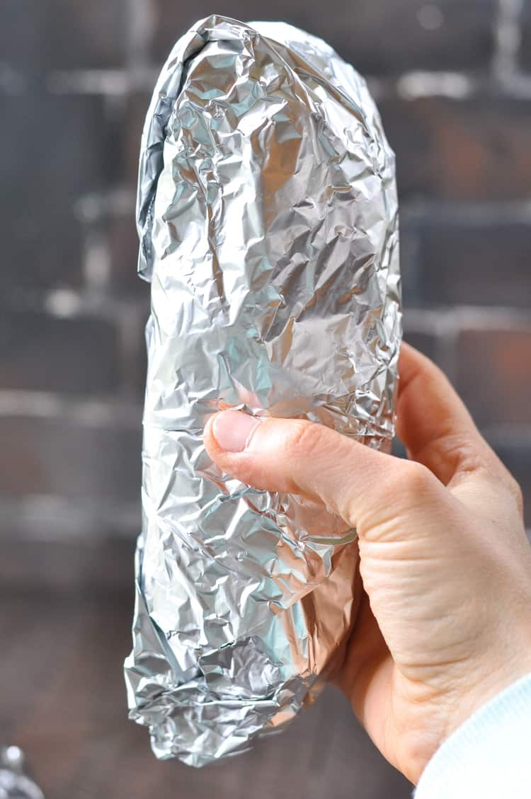 Beef Burrito wrapped in foil for the freezer