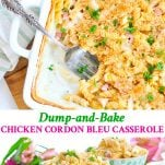 Long collage of Chicken Cordon Bleu Casserole