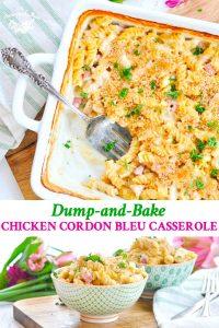 Long collage of Chicken Cordon Bleu Casserole