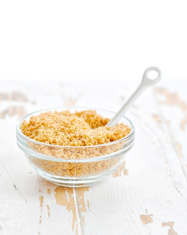Buttered breadcrumbs in glass bowl