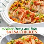 Long collage of Zero Point Dump and Bake Salsa Chicken