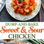 Sweet and Sour Chicken that's baked in the oven for an easy dinner recipe in one dish!