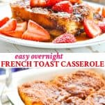 Long collage image of Easy French Toast Casserole