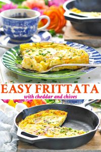 Long collage of easy frittata with cheddar and chives