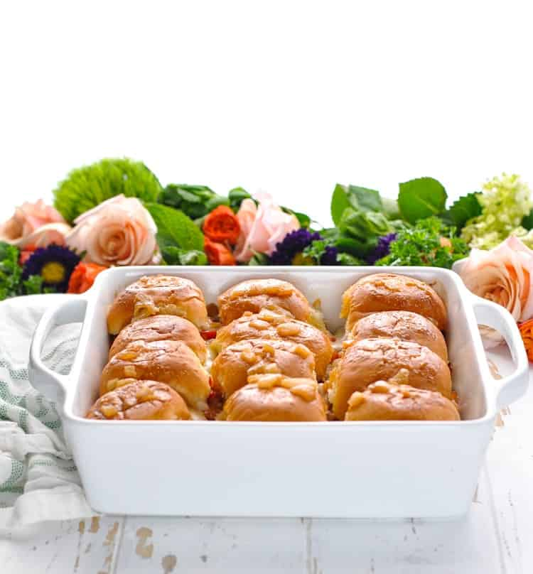 Baking dish full of Kentucky Hot Brown Sliders