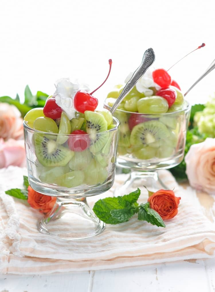 A fresh fruit salad dressed with a mint and bourbon simple syrup is an easy option for a Kentucky Derby party!