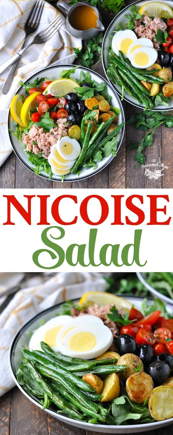 Long vertical image of a classic Nicoise Salad for a healthy dinner