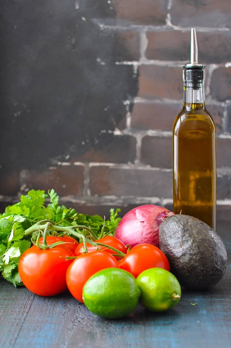 Ingredients for fresh pico de gallo recipe with just 10 minutes of prep