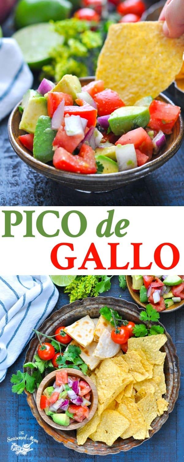 Tortilla chip dipping into a bowl of fresh and healthy Pico de Gallo