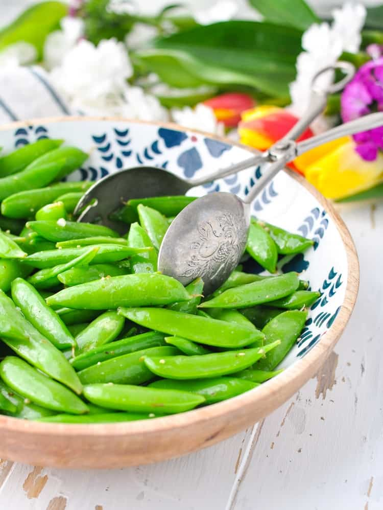 Bowl of Italian Sugar Snap Peas for a healthy salad recipe with just 2 ingredients