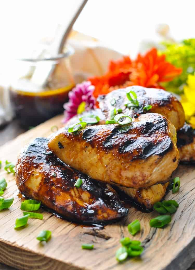 Platter of grilled chicken basted in teriyaki grilled chicken marinade.
