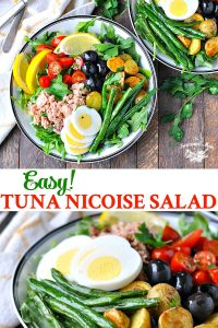 Long collage of Easy Tuna Nicoise Salad