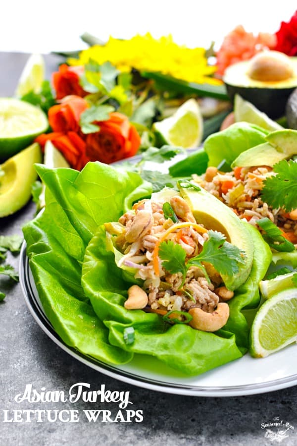 Light and healthy Asian Lettuce Wraps use ground turkey for a high protein and low calorie meal!