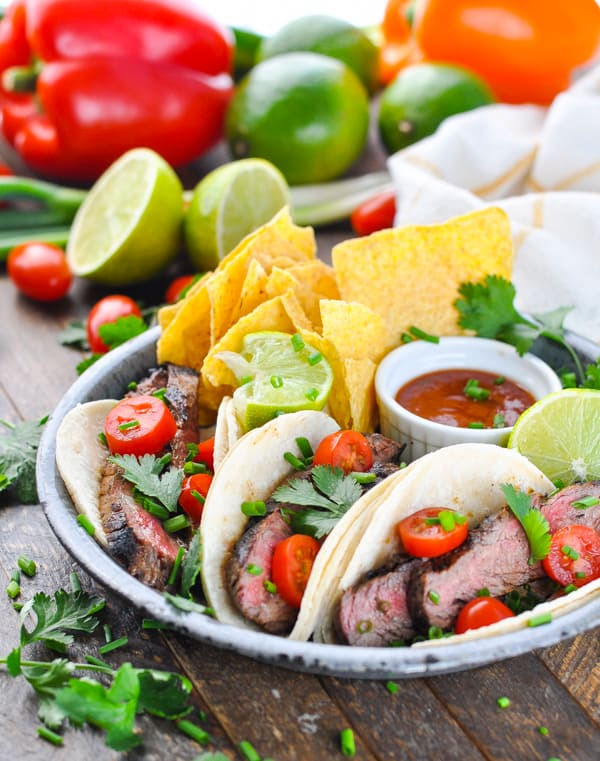Plate of carne asada grilled steak tacos