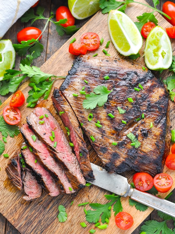 Sliced grilled flank steak for carne asada