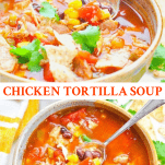 Long collage image of Crock Pot Chicken Tortilla Soup