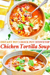 Long collage image of Chicken Tortilla Soup