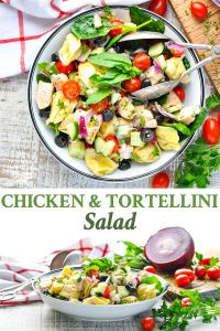 Long collage of Chicken and Tortellini Salad