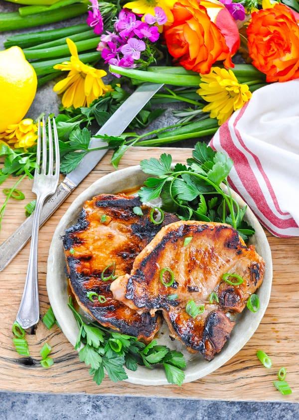 Grilled pork chops in the best pork chop marinade!