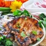 A grilled pork chop made better with the best pork chop marinade!