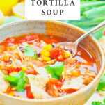 Front shot of a spoon in a bowl of chicken tortilla soup with a text title box at the top