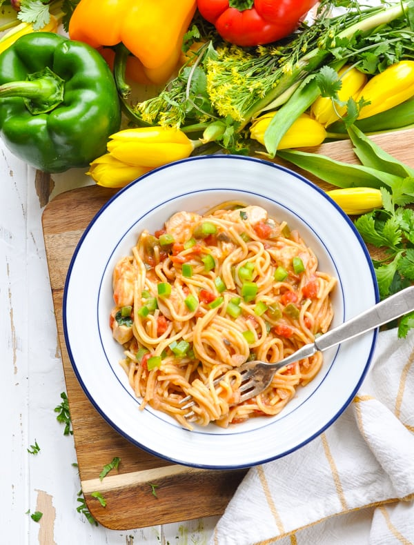 A kid-friendly dinner of Dump-and-Bake Chicken Spaghetti with just 10 minutes of prep!
