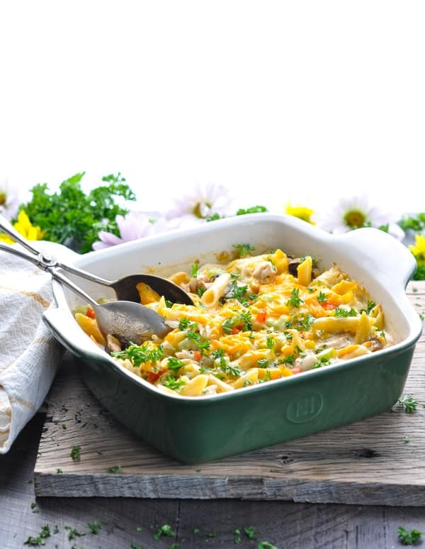This cheesy and creamy penne pasta casserole is a quick one pot meal for an easy dinner!