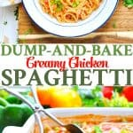An easy dinner recipe comes together with 10 minutes of prep for this simple Dump-and-Bake Chicken Spaghetti!