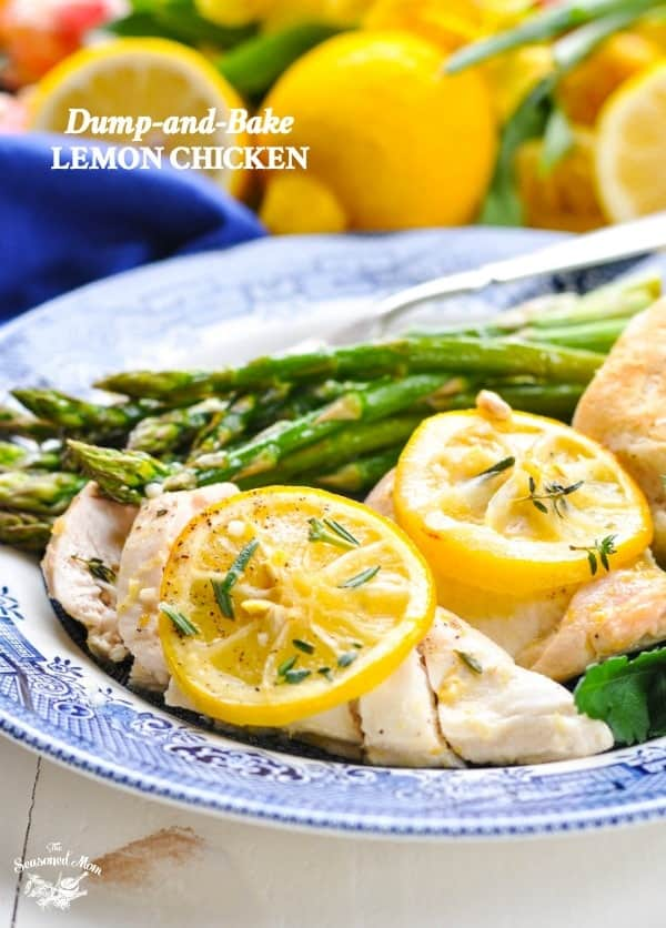 Plate of baked Lemon Chicken with asparagus for an easy and healthy dinner.