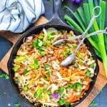 A skillet of healthy stir fry dinner with ground beef ground turkey or ground chicken called Egg Roll in a Bowl