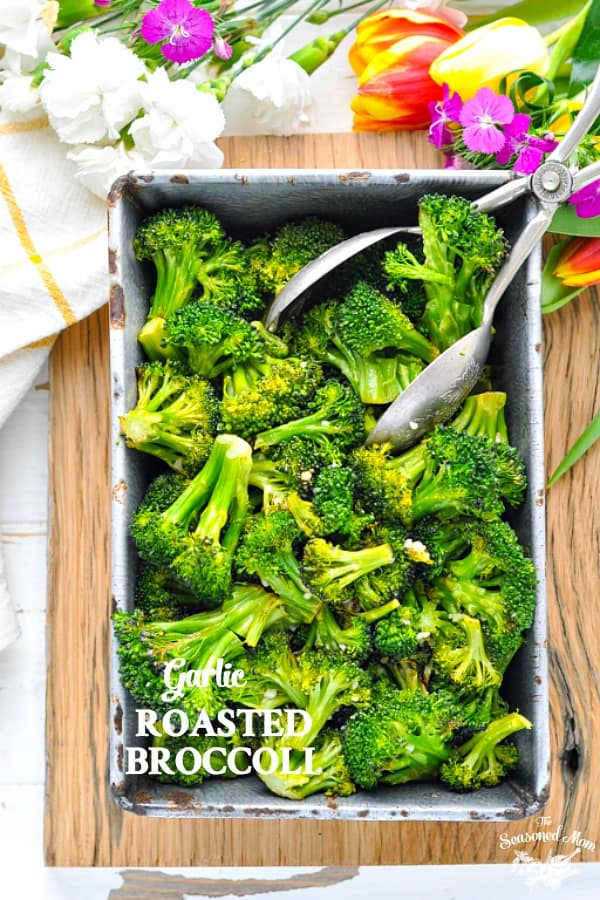 Garlic Roasted Broccoli bakes in the oven for a quick and healthy side!