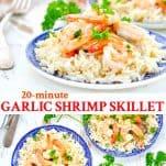 Long collage image of Garlic Shrimp Skillet
