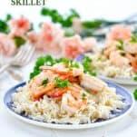 Garlic Shrimp Skillet with text overlay