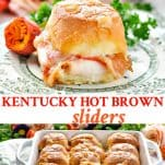 Long collage image of Kentucky Hot Brown Sliders