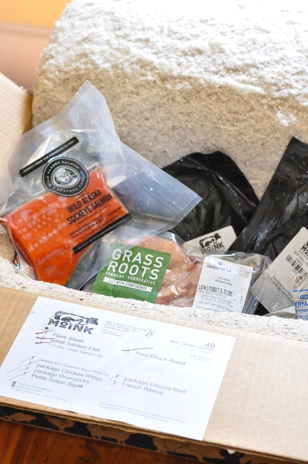 Contents of moink box with ribeye steak