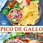 Long collage of easy pico de gallo