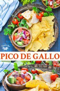Long collage of easy pico de gallo