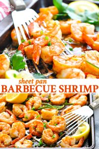 Long collage image of Barbecue Shrimp