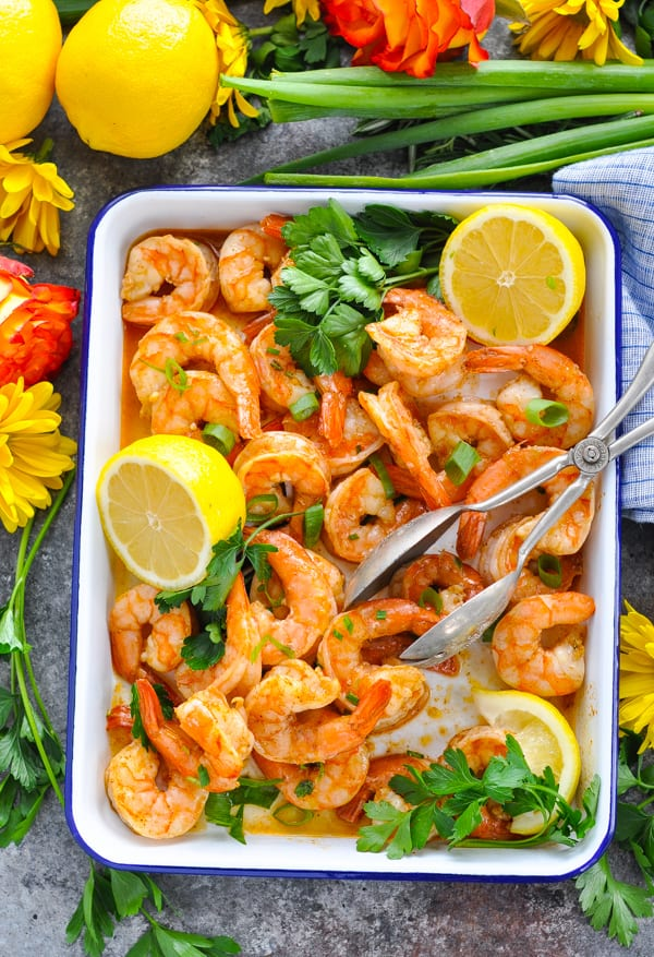 Tray of oven roasted shrimp that was marinated in Creole seasoning