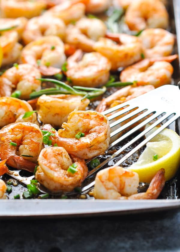 Spatula with Sheet Pan New Orleans Barbecue Shrimp for an easy and healthy dinner idea