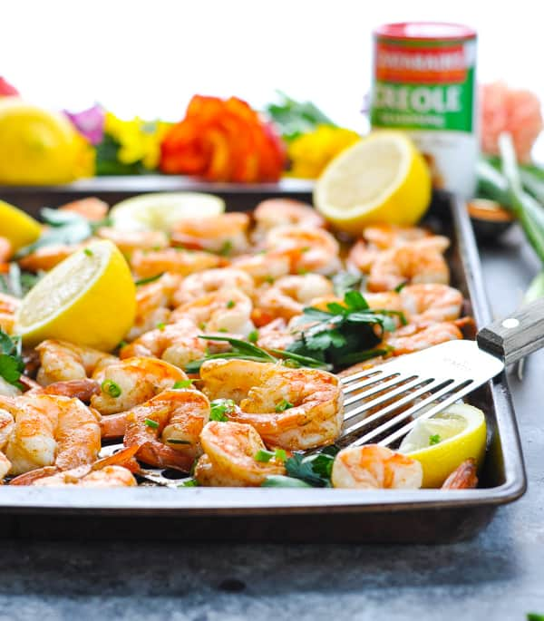 Roasted shrimp on a sheet pan