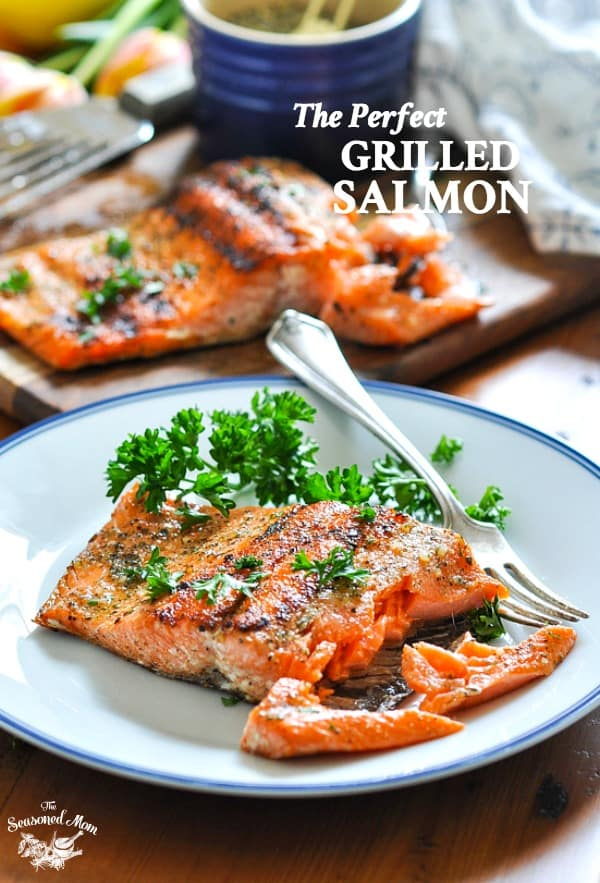 The Perfect 15 Minute Grilled Salmon recipe on a plate with text overlay.