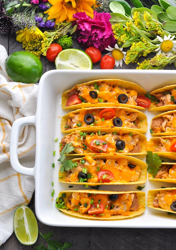Garnish these easy chicken tacos with plenty of toppings!