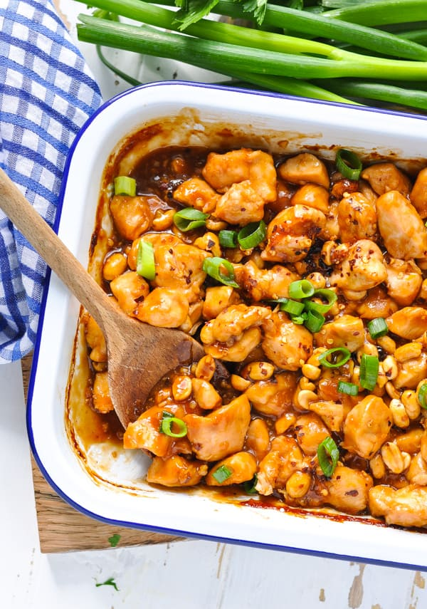 Make Chinese food at home with this easy Dump and Bake Kung Pao Chicken for dinner.