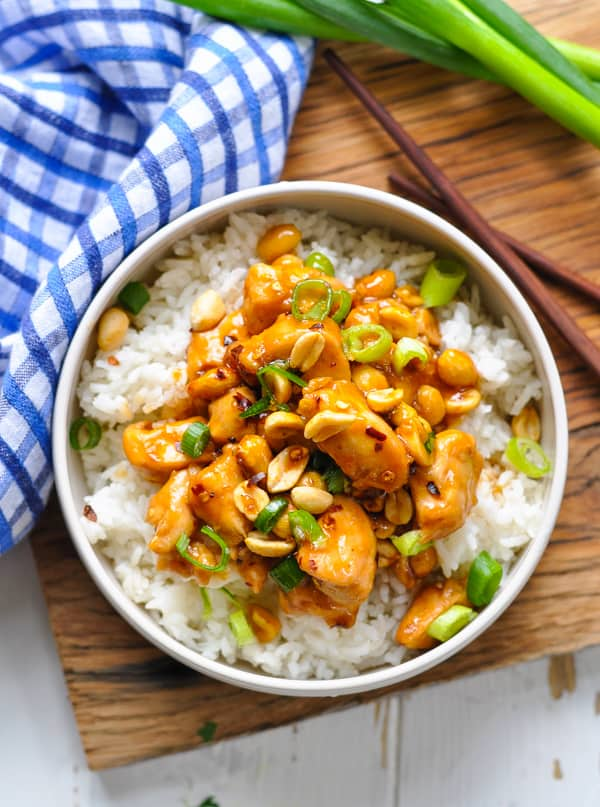 Kung Pao Chicken and Rice is an easy dinner recipe for baked chicken breasts.