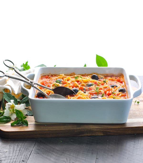 Spaghetti puttanesca is a healthy Italian dinner recipe for the whole family