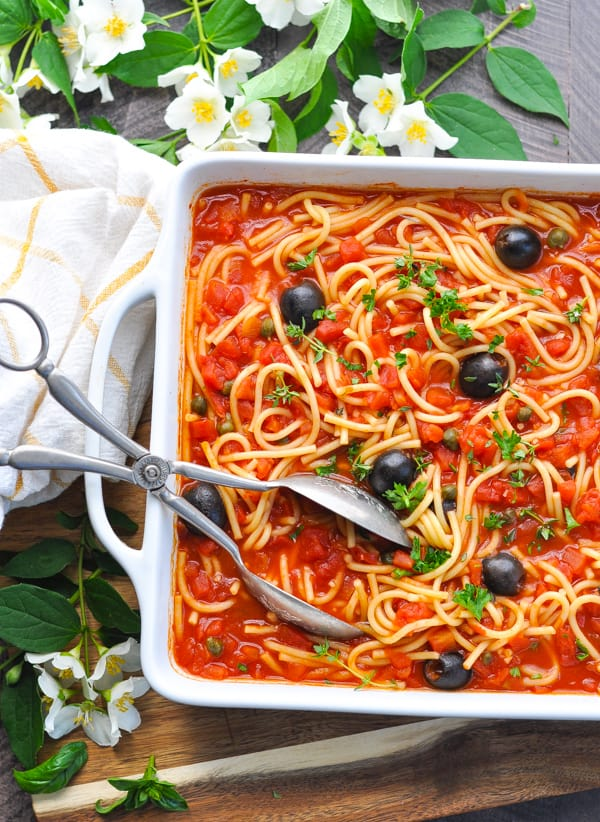 Dump and Bake Pasta Puttanesca is an easy one pot meal